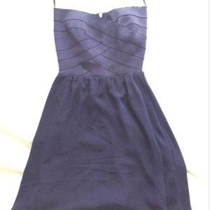 Strapless navy blue dress